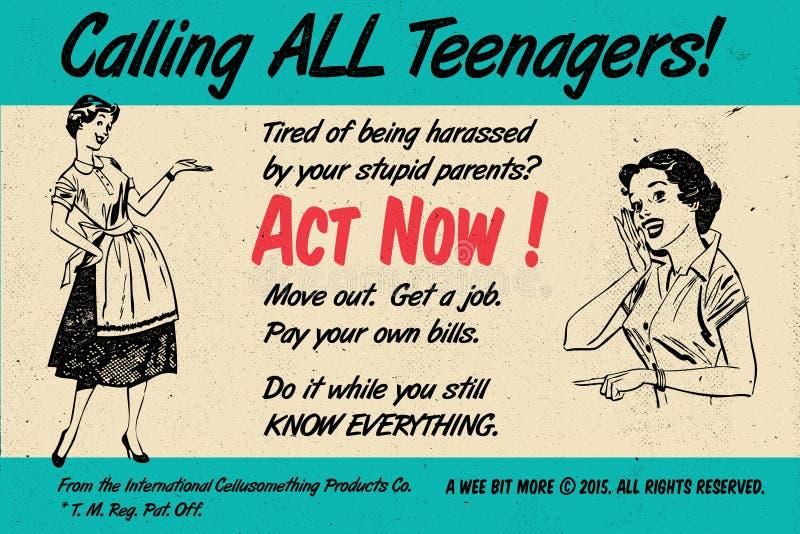 ¡Los adolescentes ahora actúan! Cartel retro del vintage foto de archivo libre de regalías