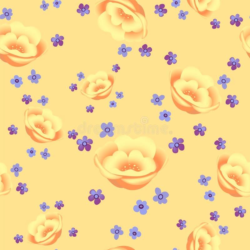 Los adornos botánicos florecientes de las flores amarillas del modelo inconsútil floral dispersaron al azar Textura inconsútil de ilustración del vector