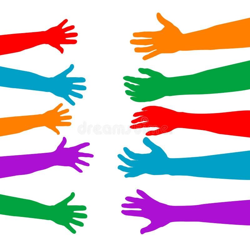 Los adultos cuidan sobre concepto de los niños con el silhouett colorido de las manos stock de ilustración