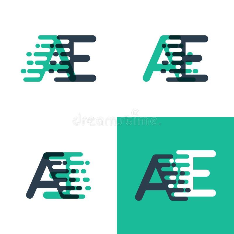 Los AE ponen letras al logotipo con acento para apresurar en verde del tosca y azul marino libre illustration