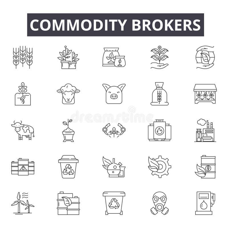 Los agentes de materia alinean los iconos, muestras, sistema del vector, concepto linear, ejemplo del esquema stock de ilustración