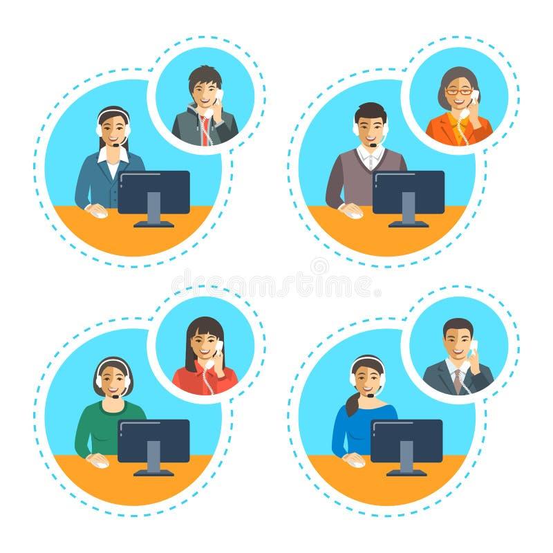 Los agentes del centro de atención telefónica hablan en el teléfono con el cliente stock de ilustración