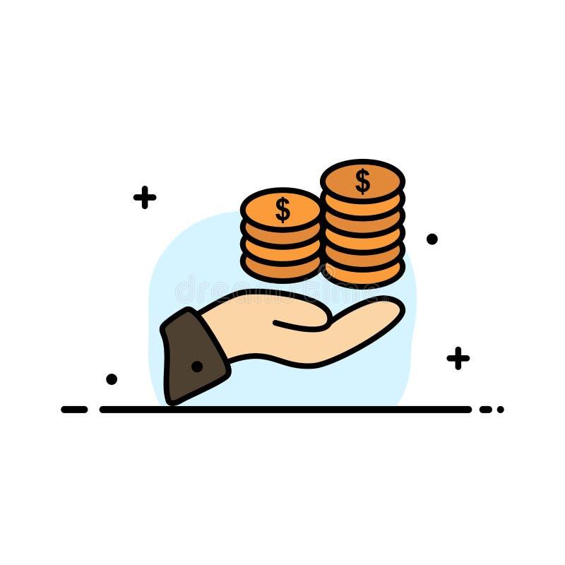 Los ahorros, cuidado, moneda, economía, finanzas, Guarder, dinero, línea plana del negocio de la reserva llenaron la plantilla de ilustración del vector