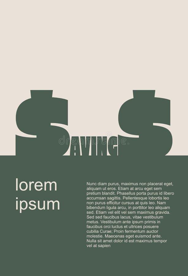 Los ahorros redactan con la letra de s como dólar stock de ilustración