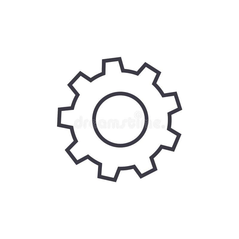 Los ajustes, corrigen la línea icono, muestra, ejemplo del vector en el fondo, movimientos editable ilustración del vector
