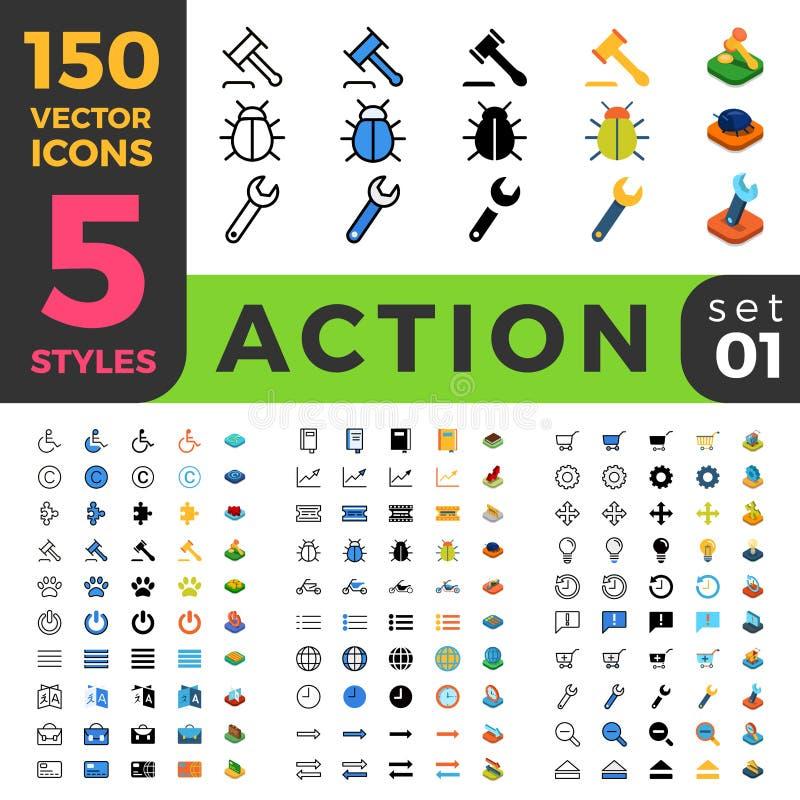 Los ajustes 150 de la acción alinean el web móvil isométrico plano stock de ilustración
