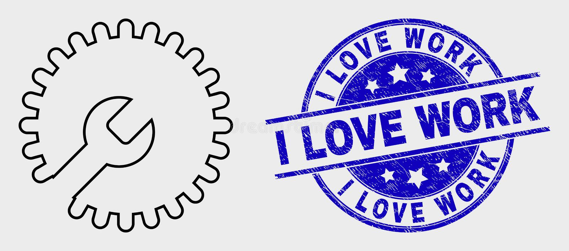 Los ajustes del esquema del vector adaptan el icono y la desolación yo sello del trabajo del amor libre illustration
