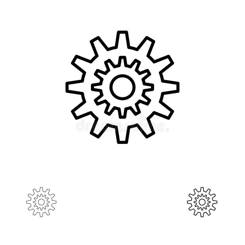 Los ajustes, diente, engranaje, producción, sistema, rueda, trabajan la línea negra intrépida y fina sistema del icono stock de ilustración
