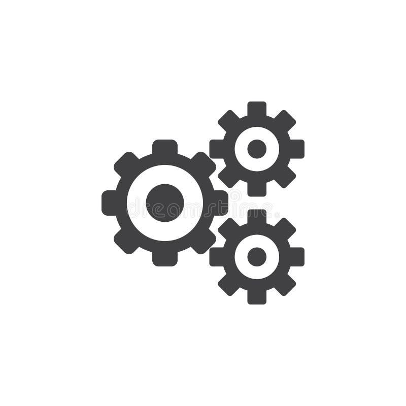Los ajustes icono, ejemplo sólido del logotipo de los engranajes, diente ruedan libre illustration