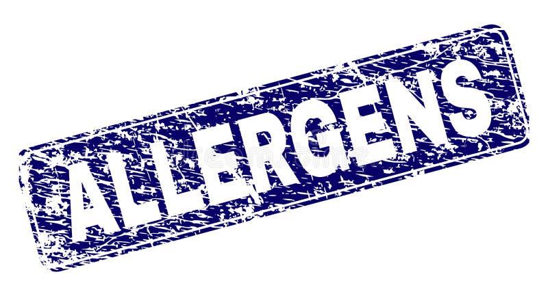 Los ALERGÉNICOS del Grunge enmarcaron el sello redondeado del rectángulo stock de ilustración