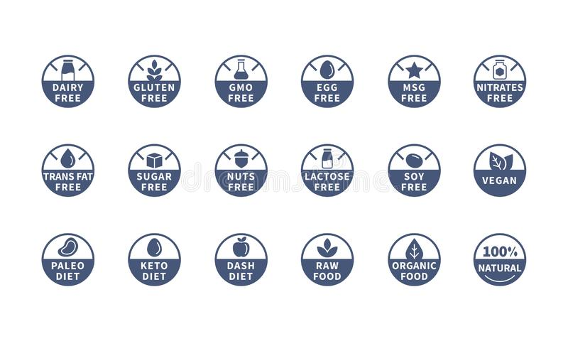 Los alergénicos, ingrediente etiquetan los símbolos, iconos del vector stock de ilustración