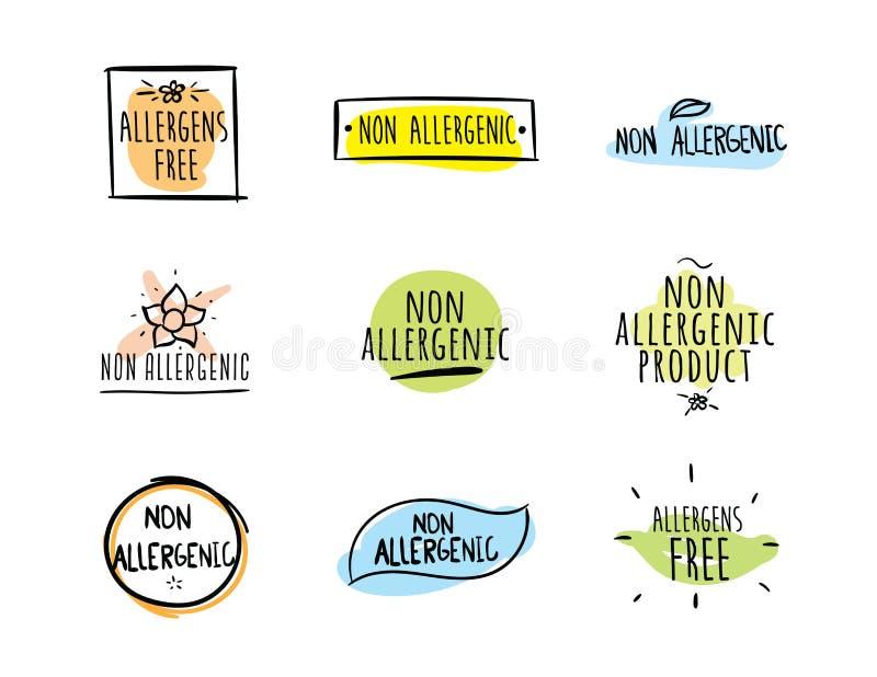 Los alergénicos liberan, las etiquetas no alergénicas del vector ilustración del vector