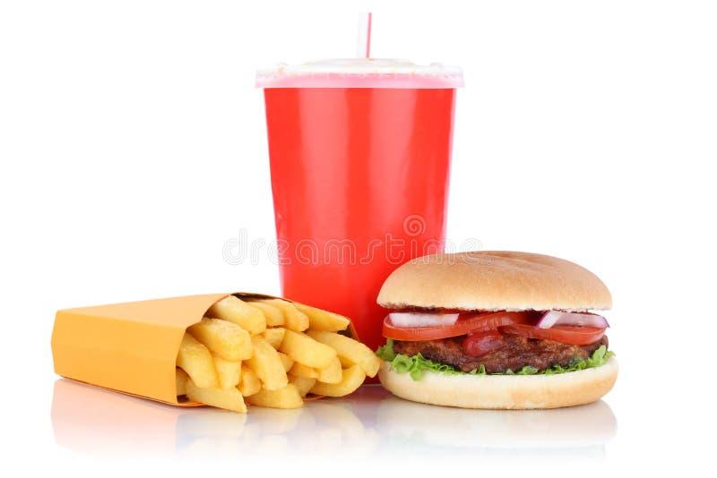 Los alimentos de preparación rápida combinados de la hamburguesa y de la comida del menú de las fritadas beben imagen de archivo libre de regalías