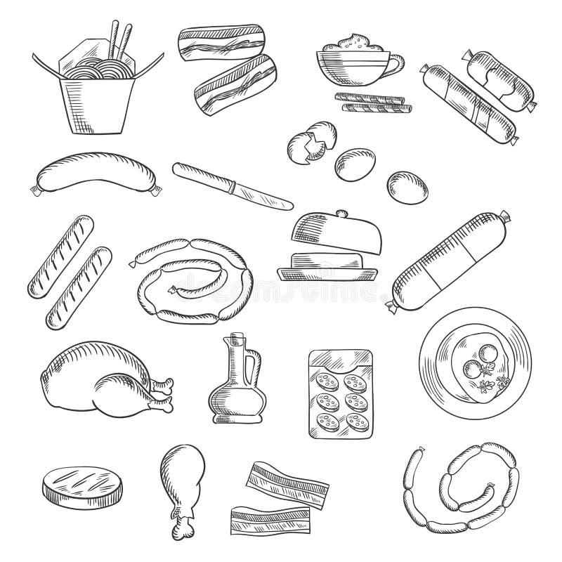 Los alimentos de preparación rápida, los bocados y la carne bosquejaron iconos libre illustration