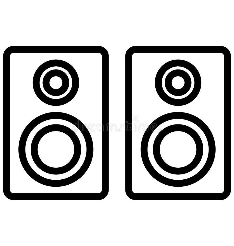 Los altavoces aislaron el icono del vector que puede modificarse o corregir fácilmente stock de ilustración