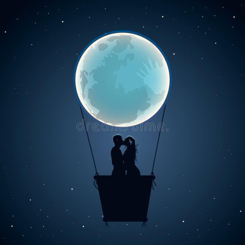 Los amantes por el aire caliente hinchan en forma de la luna stock de ilustración