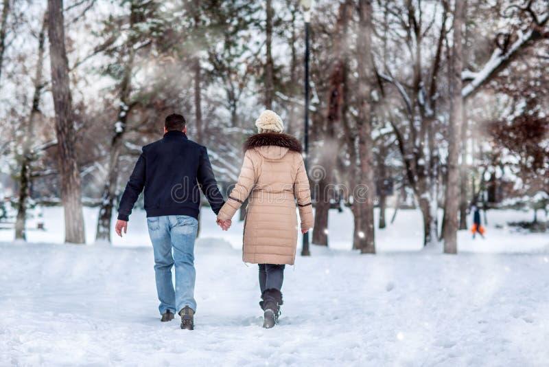 Los amantes que caminan en pares felices de la nieve del invierno en invierno parquean havin foto de archivo libre de regalías