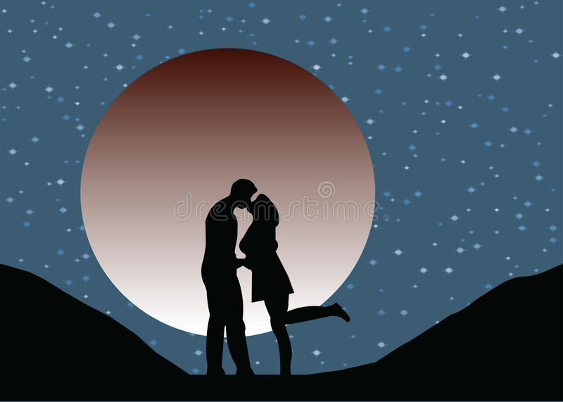 Los amantes siluetean besarse en el claro de luna stock de ilustración