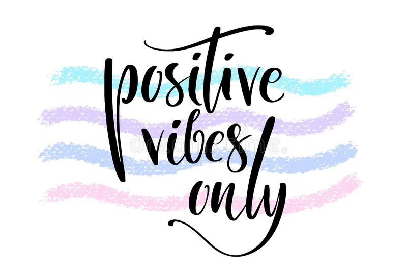 Los ambientes positivos dan solamente palabras escritas en ondas pintadas texturizadas Cita positiva, poniendo letras al cartel,  stock de ilustración