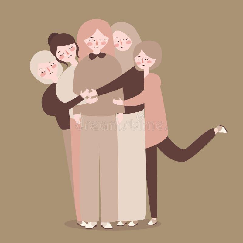 Los amigos agrupan concepto casual de enlace del abrazo de la gente joven libre illustration
