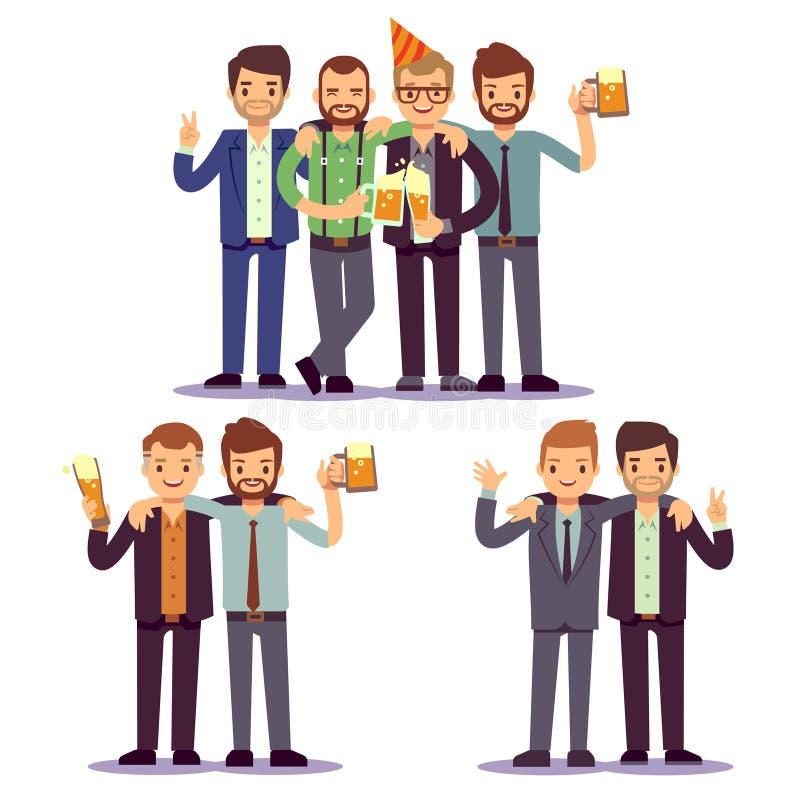Los amigos felices, hombres de negocios en el partido vector concepto amistoso stock de ilustración