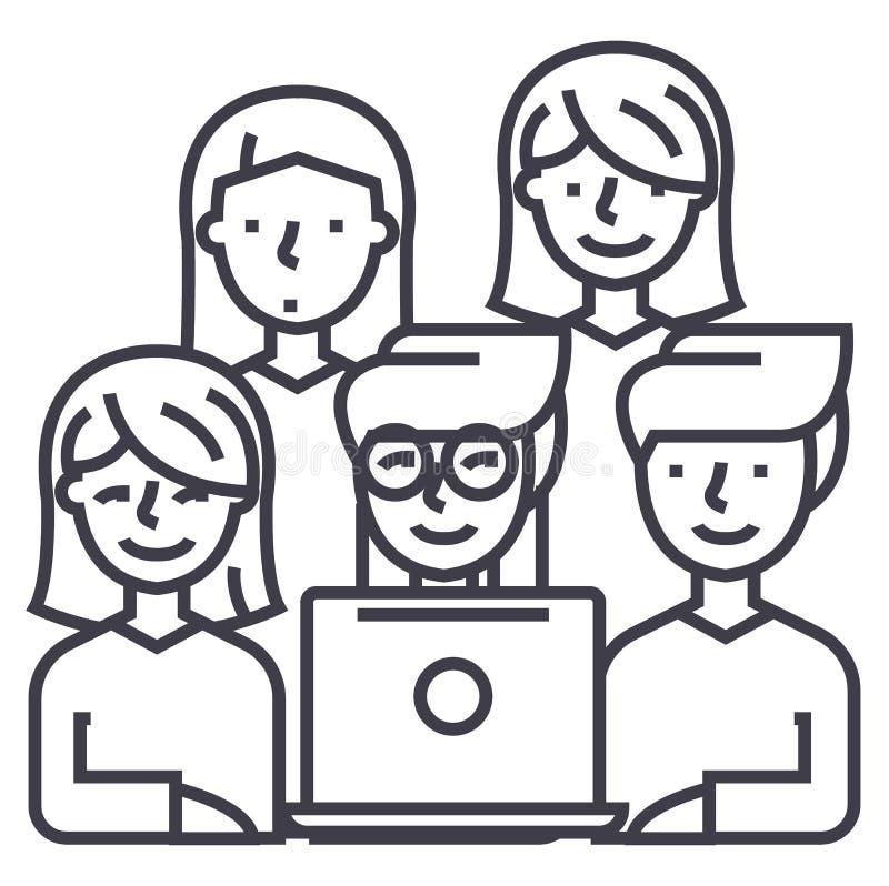 Los amigos que miran vector del cuaderno alinean el icono, muestra, ejemplo en el fondo, movimientos editable libre illustration
