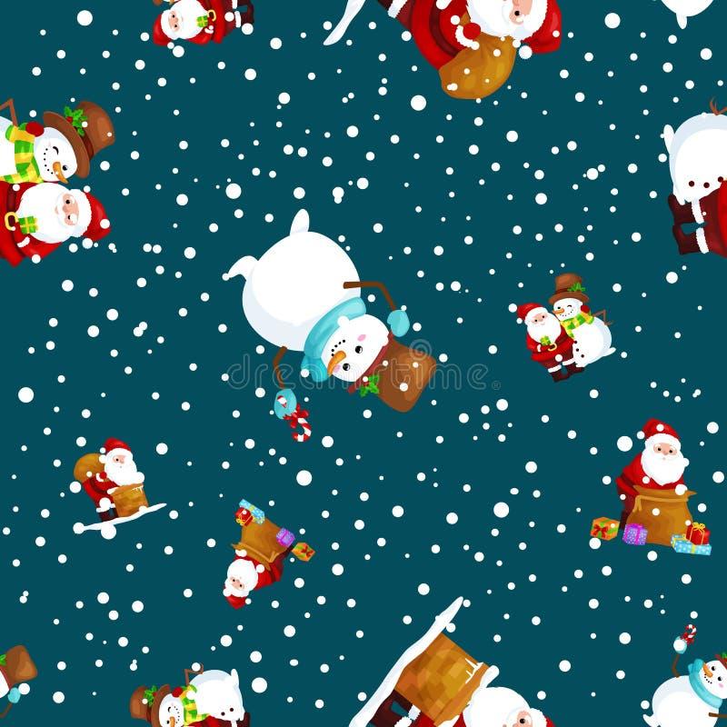 Los amigos Santa Claus de la Feliz Navidad y de la Feliz Año Nuevo en muñeco de nieve del sombrero en bufanda celebran Navidad, n libre illustration