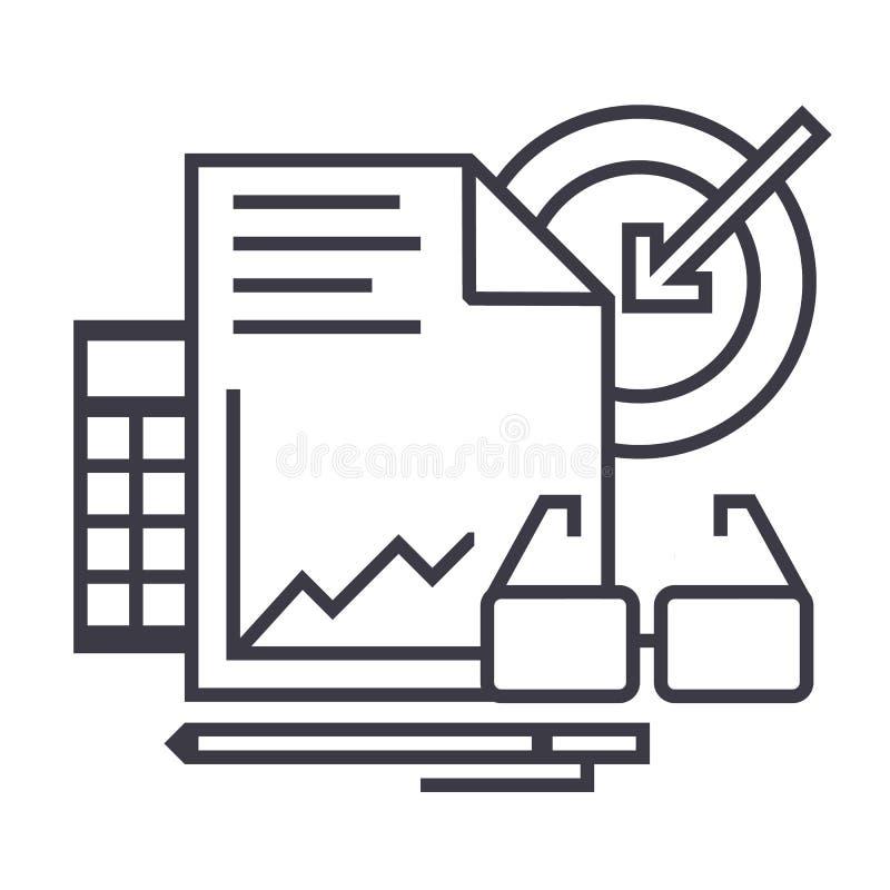 Los analytics del márketing vector la línea icono, muestra, ejemplo en el fondo, movimientos editable libre illustration