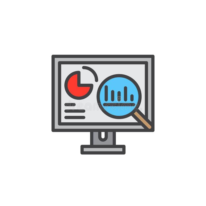 Los Analytics, PC de sobremesa con los gráficos alinean el icono, muestra llenada del vector del esquema, pictograma colorido lin libre illustration