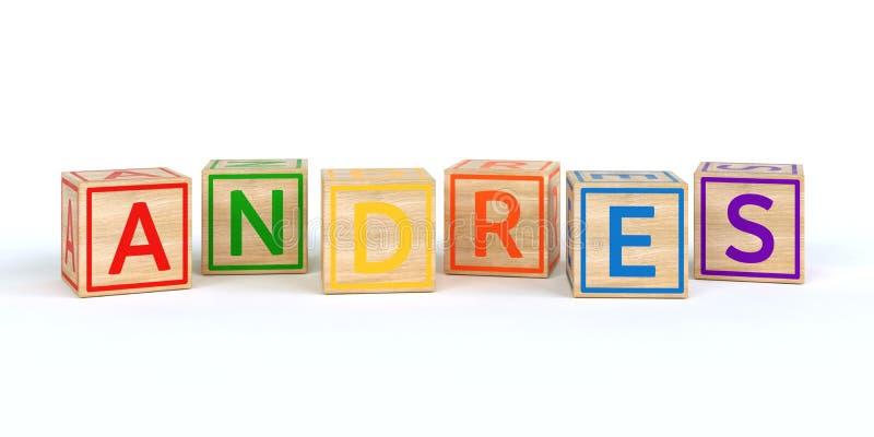 Los andres del nombre escritos con los cubos de madera aislados del juguete ilustración del vector