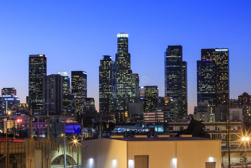 Los Angeles śródmieścia nightscene zdjęcie royalty free