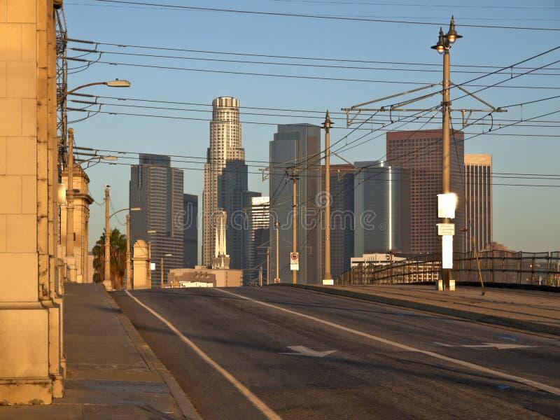 Los Angeles all'indicatore luminoso caldo di alba fotografia stock