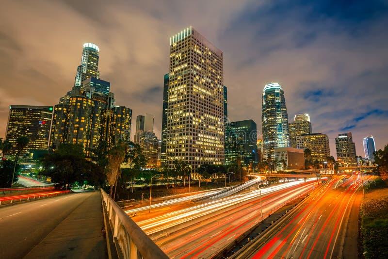 Los Angeles alla notte fotografia stock libera da diritti