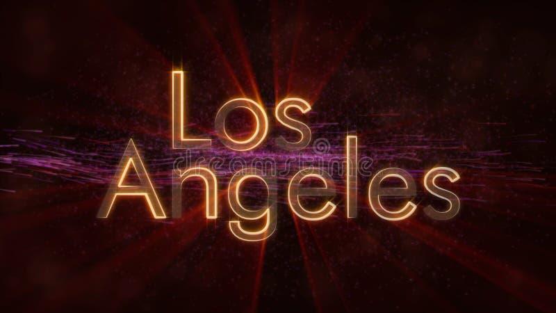 Los Angeles - animación de colocación brillante del texto del nombre de la ciudad libre illustration