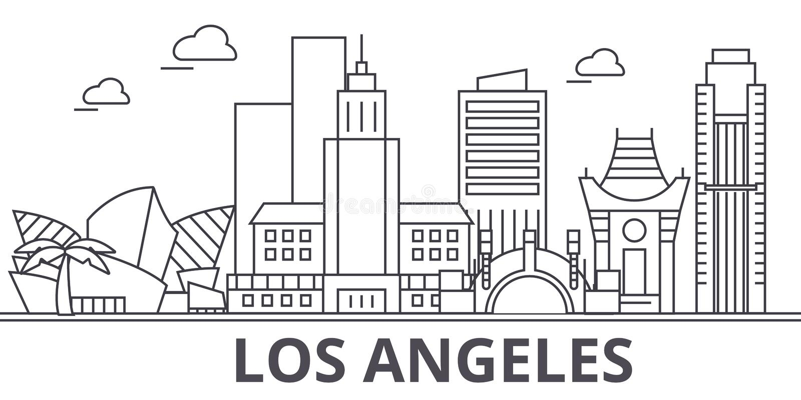 Los Angeles architecture line skyline illustration. Linear vector cityscape with famous landmarks, city sights, design. Icons. Editable strokes royalty free illustration