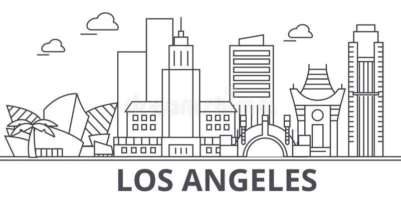 Los Angeles arkitekturlinje horisontillustration Linjär vektorcityscape med berömda gränsmärken, stadssikt, design royaltyfri illustrationer