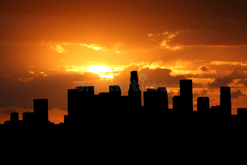 Los Angeles bij zonsondergang vector illustratie