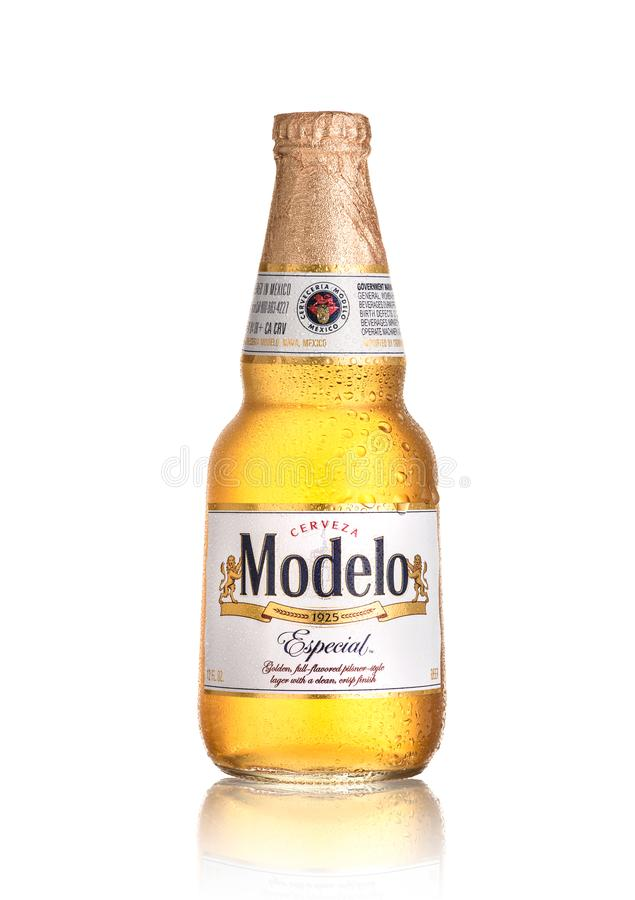 Modelo Especial. Los Angeles CA - August 23: Bottle of Modelo Especial isolated on white background. Brewed in Mexico and distributed worldwide stock images
