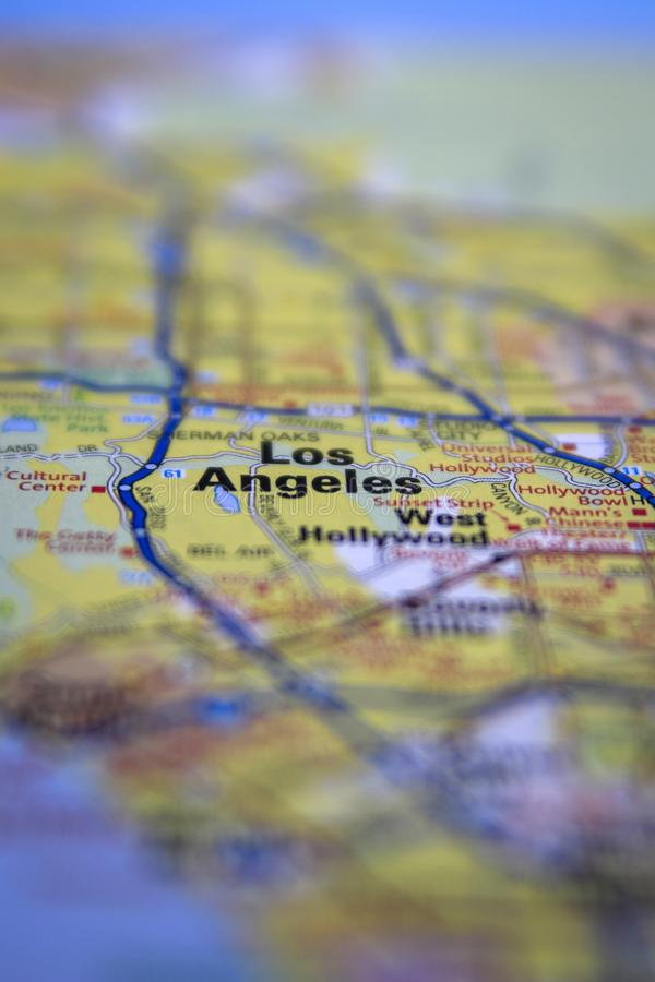 Los Angeles, CA centered on a paper roadmap royalty free stock photo