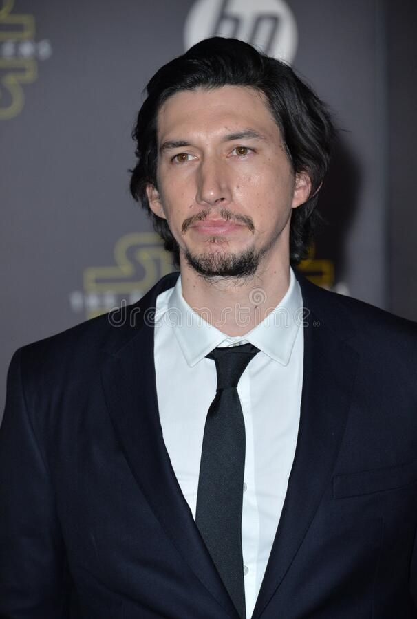 Adam Driver. LOS ANGELES, CA - DECEMBER 14, 2015: Actor Adam Driver at the world premiere of \'Star Wars: The Force Awakens\' on Hollywood Boulevard royalty free stock image
