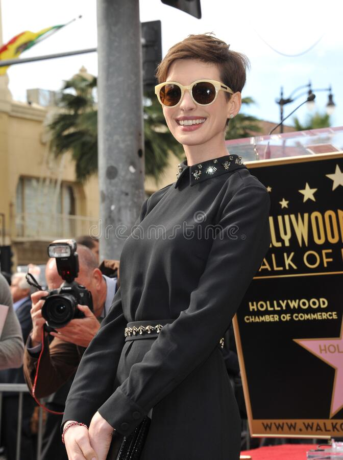 Anne Hathaway. LOS ANGELES, CA - December 13, 2012: Actress Anne Hathaway on Hollywood Blvd where actor Hugh Jackman was honored with the 2,487th star on the stock photos
