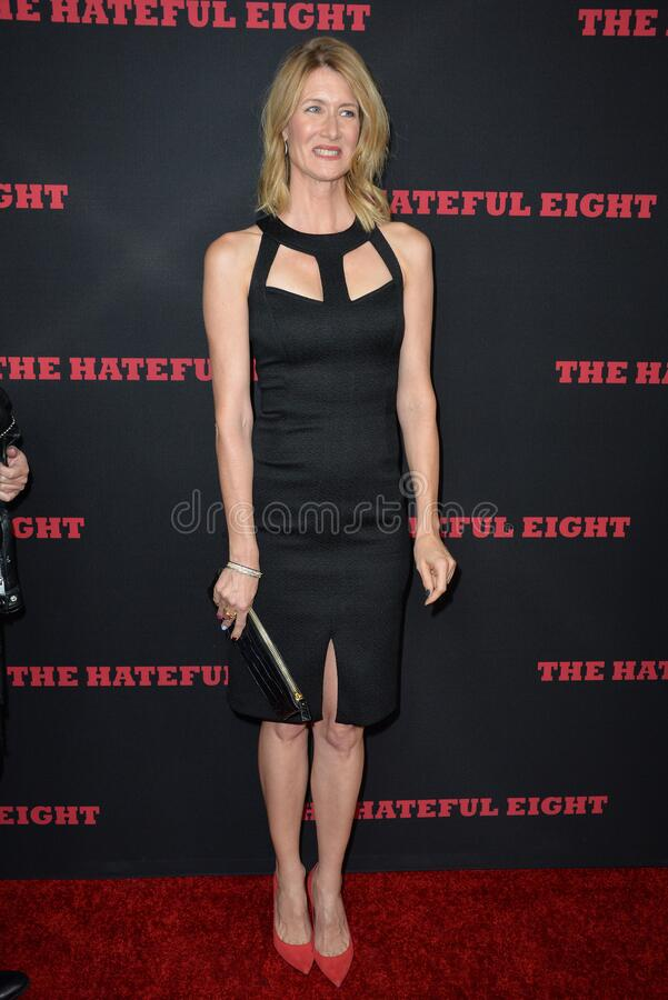 Laura Dern. LOS ANGELES, CA - DECEMBER 7, 2015: Actress Laura Dern at the premiere \'The Hateful Eight stock photos