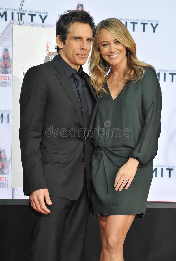 Ben Stiller & Christine Taylor. LOS ANGELES, CA - DECEMBER 3, 2013: Ben Stiller & wife Christine Taylor at the TCL Chinese Theatre where he had his hand & royalty free stock image