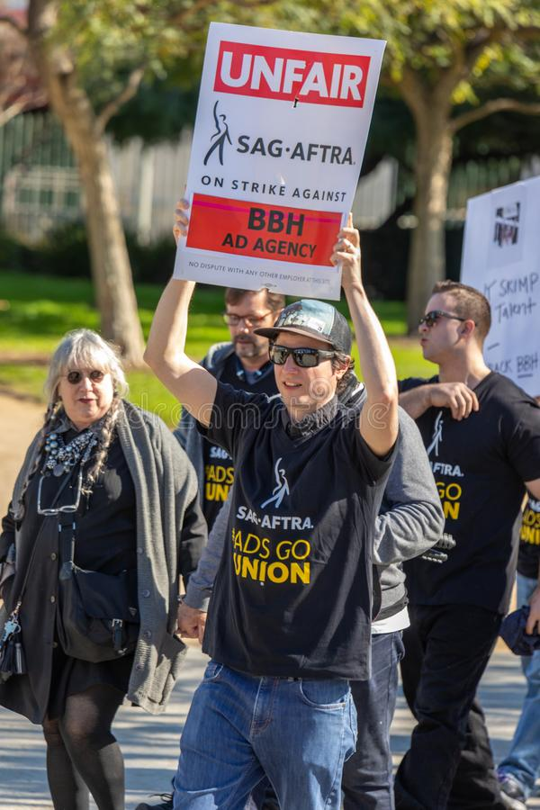 SAG AFTRA Rally against BBH. LOS ANGELES, CA - JANUARY 23, 2019: Hundreds of SAG actors marched today against Bartle Bogle Hegarty BBH ad agency, after it royalty free stock photo