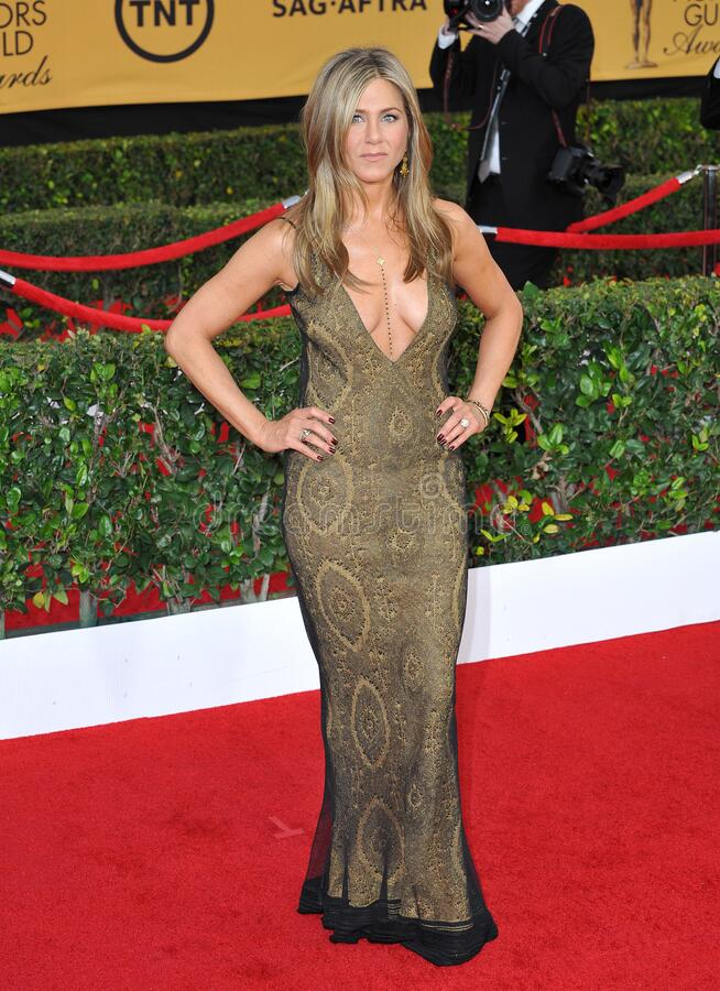 Jennifer Aniston. LOS ANGELES, CA - JANUARY 25, 2015: Jennifer Aniston at the 2015 Screen Actors Guild  Awards at the Shrine Auditorium stock photography