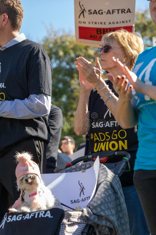 SAG AFTRA Rally against BBH. LOS ANGELES, CA - JANUARY 23, 2019: SAG actors marched today against Bartle Bogle Hegarty Inc. after it announced last Fall that it stock images