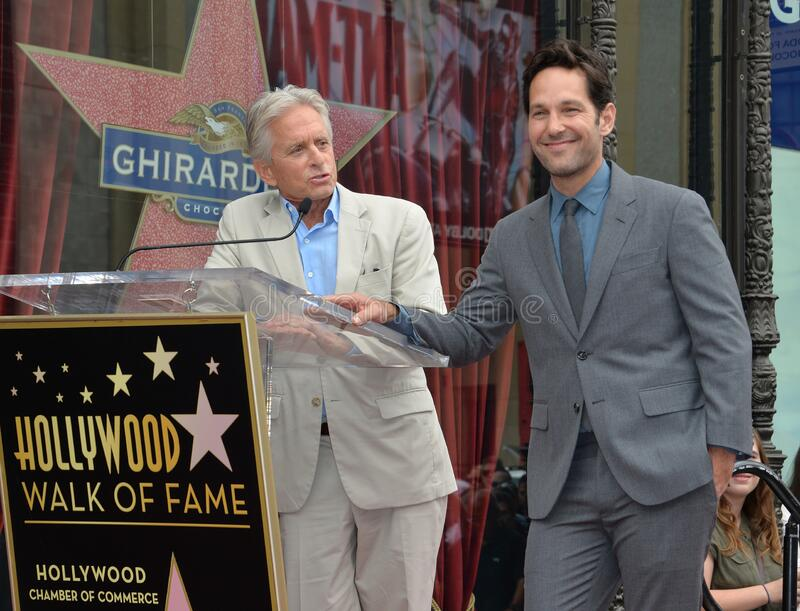 Paul Rudd & Michael Douglas. LOS ANGELES, CA - JULY 1, 2015: Actors Paul Rudd & Michael Douglas (left) on Hollywood Blvd where Rudd was honored with the 2,554th royalty free stock image