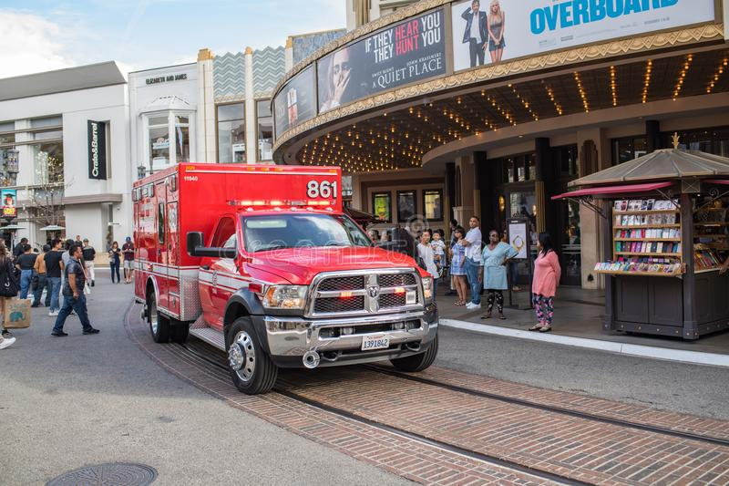 Los Angeles Fire Department ambulance. Los Angeles, CA: May 5, 2018: Los Angeles Fire Department paramedic ambulance truck at The Grove shopping mall. The Los royalty free stock photo