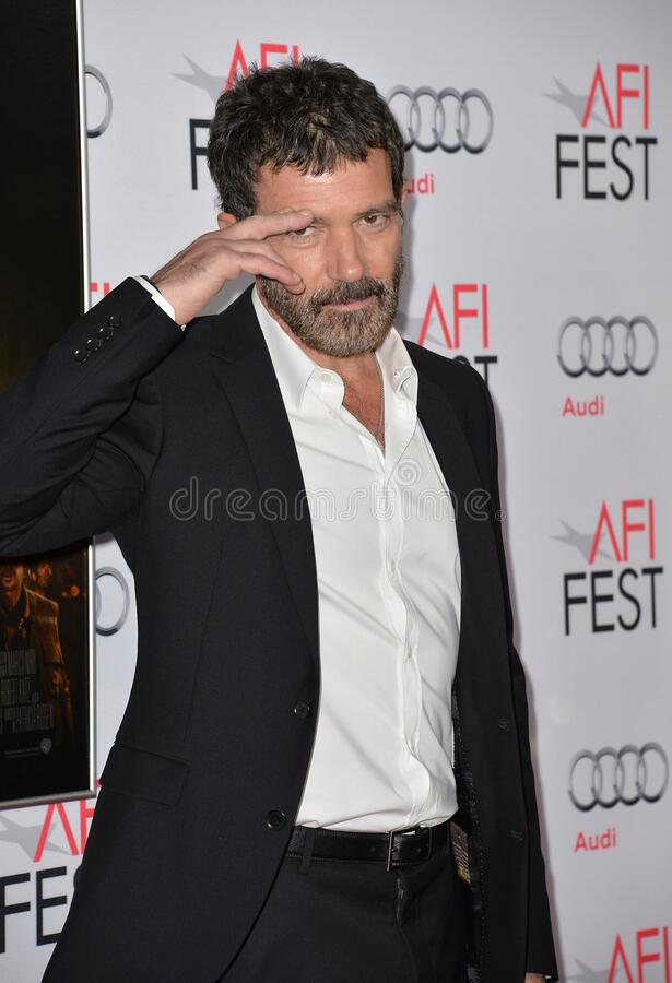 Antonio Banderas. LOS ANGELES, CA - NOVEMBER 9, 2015: Actor Antonio Banderas at the premiere of his movie \'The 33\', part of the AFI FEST 2015, at the TCL royalty free stock image