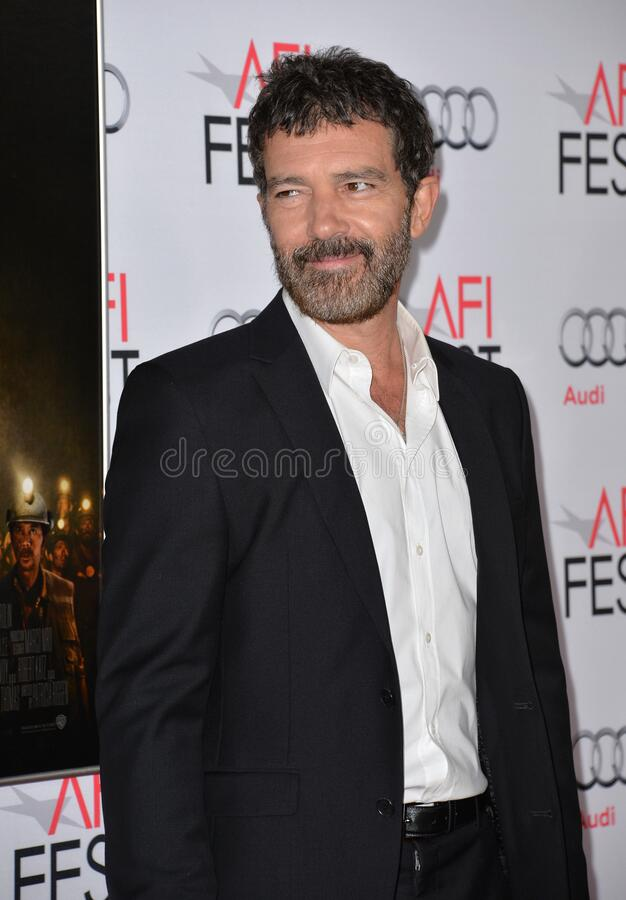 Antonio Banderas. LOS ANGELES, CA - NOVEMBER 9, 2015: Actor Antonio Banderas at the premiere of his movie \'The 33\', part of the AFI FEST 2015, at the TCL royalty free stock photography